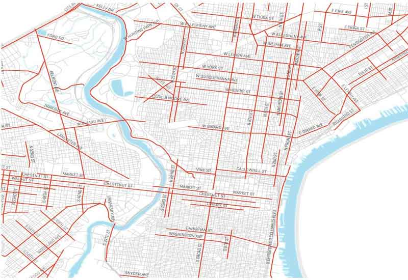 high injury network of streets in Philadelphia Vision Zero plan