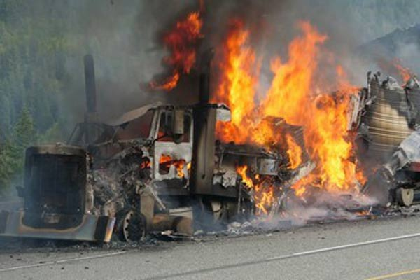 tractor trailer fire after a crash